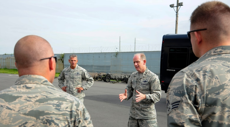 U.S. Air Force Maj. Gen. Donald Dunbar, Wisconsin's adjutant general, briefs a group of Airmen from the 176th Air Expeditionary Maintenance Unit at Kunsan Air Base, Republic of Korea, Sept. 15, 2017. Airmen from the 115th Fighter Wing, Wisconsin Air National Guard, are deployed to Kunsan for a 4-month rotation as part of a Theater Security Package, which helps to maintain a deterrent against threats to regional security and stability. Dunbar visited Kunsan to see how the Airmen from the 115th FW help enhance 8th FW Airmen's ability to defend the base, accept follow-on forces and take the fight north. (U.S. Air Force photo by Senior Airman Colby L. Hardin)