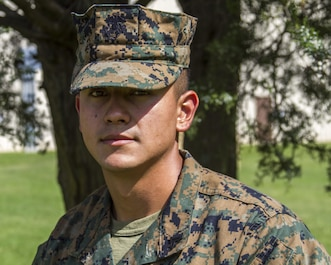 Corporal Saul Huerta-Magdaleno poses for a portrait aboard Camp Barrett, Quantico, Va., Sept. 15, 2017. Huerta is an instructor at The Basic School, where he trains newly commissioned officers how to operate artillery equipment. (Marine Corps photo by Cpl. Michael McHale)