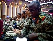 Senior leaders from 14 nations attend senior leader seminar during Bright Star 2017, Sept. 18, 2017, at Mohamed Naguib Military Base, Egypt. Bright Star 2017 centralizes around regional security and cooperation, and promoting interoperability in conventional and irregular warfare scenarios. (U.S. Air Force photo by Staff Sgt. Michael Battles)