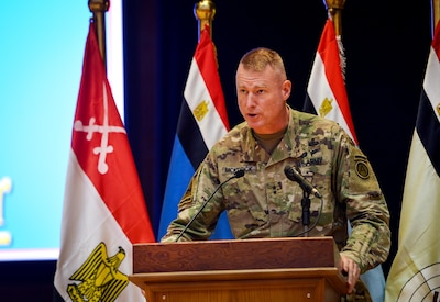 U.S. Army Maj. Gen. Terrence McKenrick, U.S. Army Central deputy commanding general, gives opening remarks at a senior leader seminar during Bright Star 2017, Sept. 18, 2017, at Mohamed Naguib Military Base, Egypt. More than 200 U.S. service members are participating alongside the Egyptian armed forces for the bilateral U.S. Central Command Exercise Bright Star 2017, Sept. 10 – 20, 2017 at Mohamed Naguib Military Base, Egypt. (U.S. Air Force photo by Staff Sgt. Michael Battles)