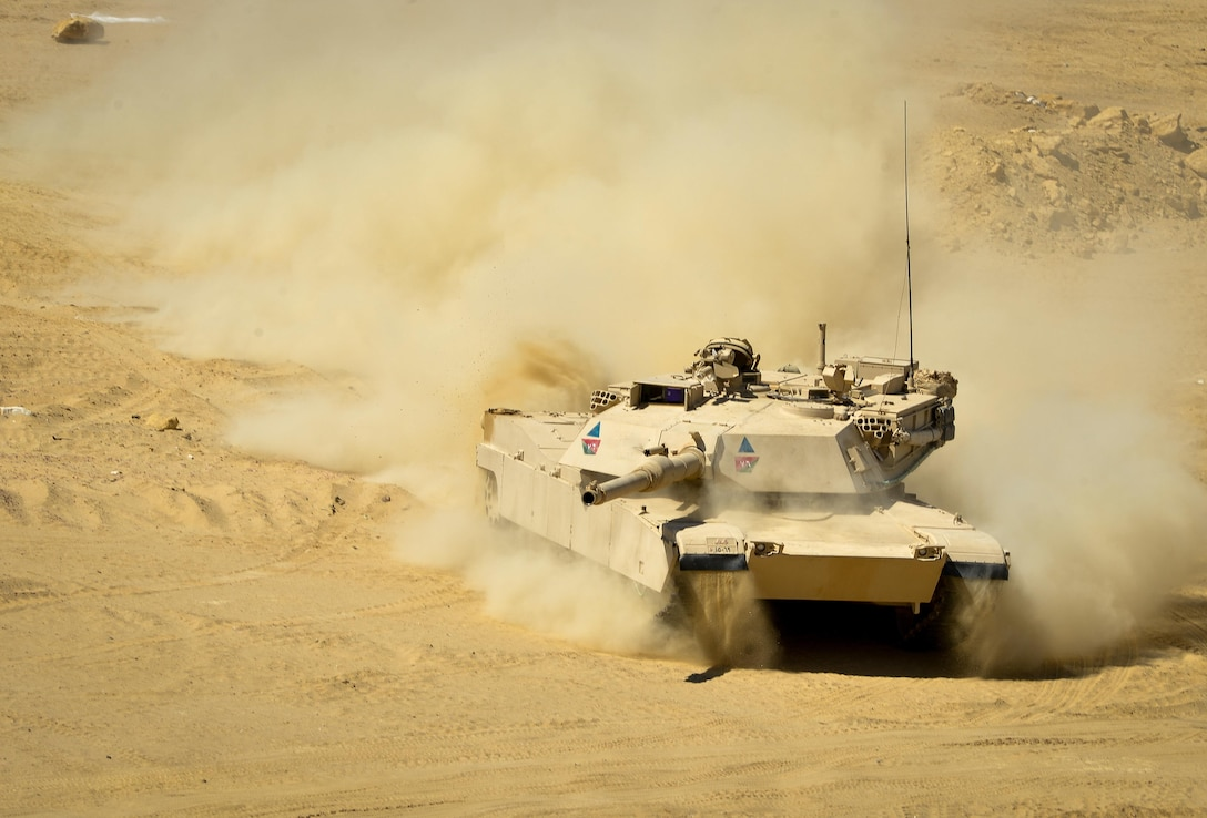 An Egyptian M1A1 Abrams participates in a field training exercise during Bright Star 2017, Sept. 16, 2017, at Mohamed Naguib Military Base, Egypt. More than 200 U.S. service members are participating alongside the Egyptian armed forces for the bilateral U.S. Central Command Exercise Bright Star 2017, Sept. 10 - 20, 2017 at Mohamed Naguib Military Base, Egypt. (U.S. Air Force photo by Staff Sgt. Michael Battles)
