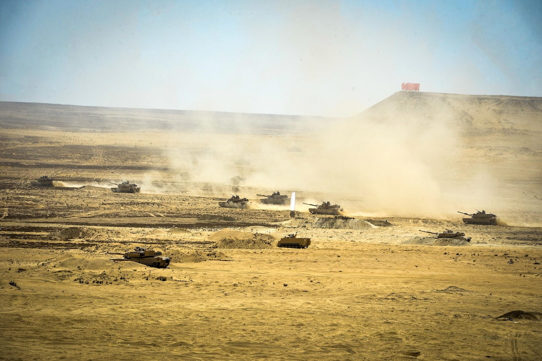 U.S. Army Soldiers from the 2nd Battalion, 7th Cavalry Regiment, 3rd Armored Combat Team, 1st Cavalry Division and the Egyptian armed forces participate in a field training exercise during Bright Star 2017, Sept. 16, 2017, at Mohamed Naguib Military Base, Egypt. More than 200 U.S. service members are participating alongside the Egyptian armed forces for the bilateral U.S. Central Command Exercise Bright Star 2017, Sept. 10 - 20, 2017 at Mohamed Naguib Military Base, Egypt. (U.S. Air Force photo by Staff Sgt. Michael Battles)