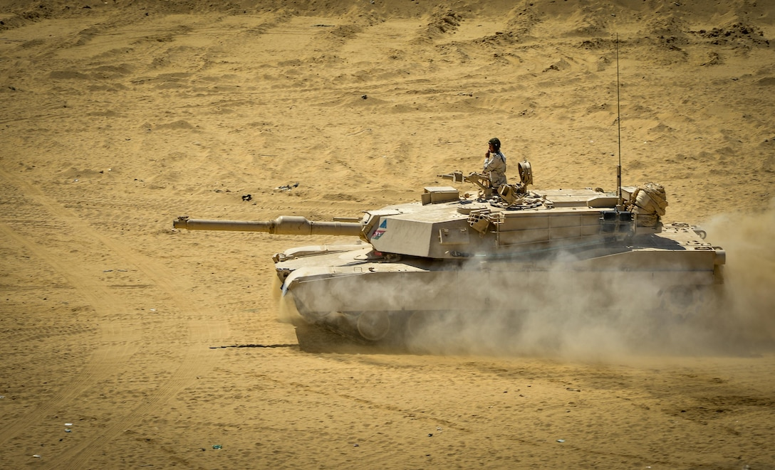 An Egyptian M1A1 Abrams tank participates in a field training exercise during Bright Star 2017, Sept. 16, 2017, at Mohamed Naguib Military Base, Egypt. More than 200 U.S. service members are participating alongside the Egyptian armed forces for the bilateral U.S. Central Command Exercise Bright Star 2017, Sept. 10 - 20, 2017 at Mohamed Naguib Military Base, Egypt. (U.S. Air Force photo by Staff Sgt. Michael Battles)