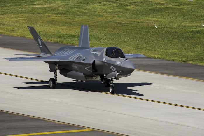 A U.S. Marine Corps F-35B Lightning II aircraft with Marine Fighter Attack Squadron (VMFA) 121 departs Marine Corps Air Station Iwakuni, Japan, Sept. 18, 2017. The F-35B Lightning II aircraft joined United States Air Force, Japan and Republic of Korea Air Force aircraft in a sequenced bilateral show of force over the Korean peninsula. This show-of-force mission demonstrated sequenced bilateral cooperation, which is essential to defending U.S. allies, partners and the U.S. homeland against any regional threat.
