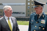 Defense Secretary Jim Mattis stands with Gen. Salvador Cienfuegos Zepeda, Mexico's secretary of national defense