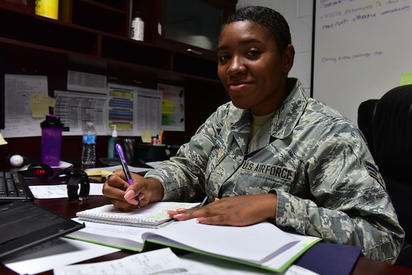 Senior Airman Tyeisha Lewis, 19th Logistics Readiness Squadron vehicle fleet management and analysis journeyman, is nominated for the Combat Airlifter of the Week Sept. 19, 2017 at Little Rock Air Force Base, Ark. Lewis was selected for her efforts during Hurricane Irma. (U.S. Air Force photo by Airman Rhett Isbell)