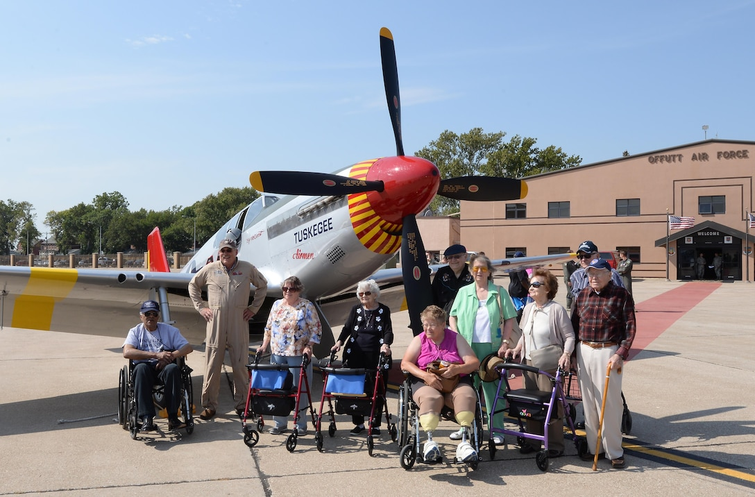 P-51 Mustang from Red Tail Squadron, original Tuskegee Airman visit Offutt