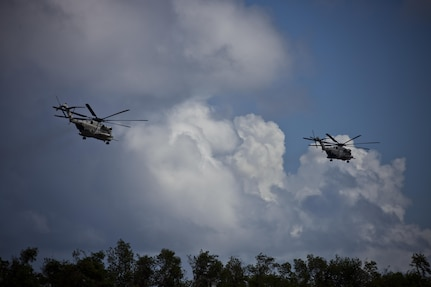 U.S. Marine CH-53E Super Stallion helicopters belonging to Joint Task Force - Leeward Islands take off from Muñiz Air National Guard Base in Carolina, Puerto Rico, Sept. 18, 2017.