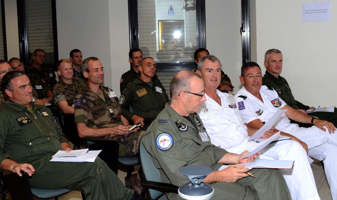 The Exercise Equateur 2017 command group receives updates at the daily command update briefing in the French territory of New Caledonia, Sept. 15, 2017. Army photo by Staff Sgt. David J. Overson