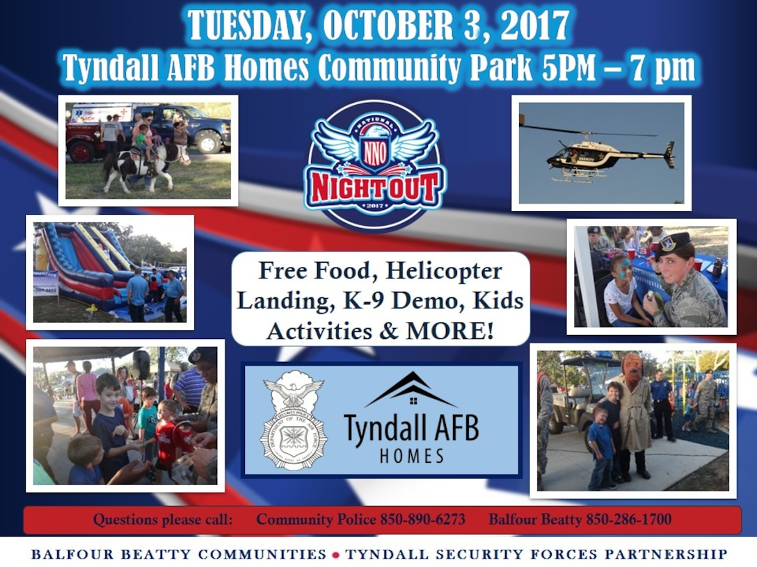 The 325th Security Forces Squadron and Balfour Beatty Communities are scheduled to host their free annual National Night Out from 5 p.m. to 7 p.m. Oct. 3, 2017, at the Balfour Beatty Community Center.