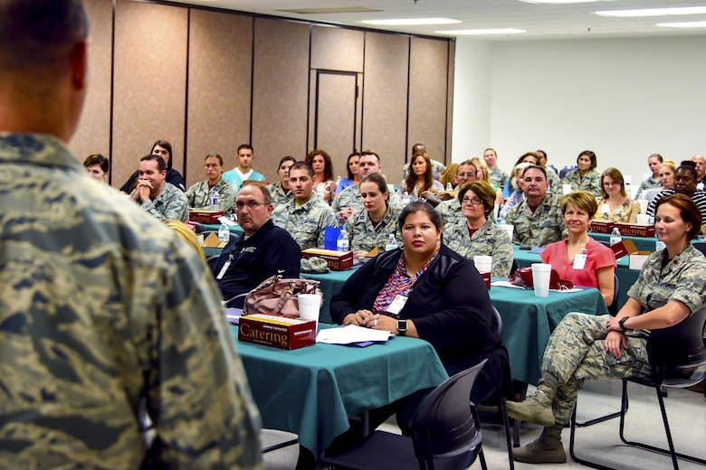 Col. George Vietas, 23d Medical Group commander speaks to military and community health care providers during a provider collaboration, Sept. 15, 2017, at Moody Air Force Base, Ga. The 23d Medical Group held this to allow base and community providers an opportunity to meet face-to-face to better understand the Airmen they are taking care of and provide feedback to help both sides improve.  (U.S. Air Force photo by Airman Eugene Oliver)
