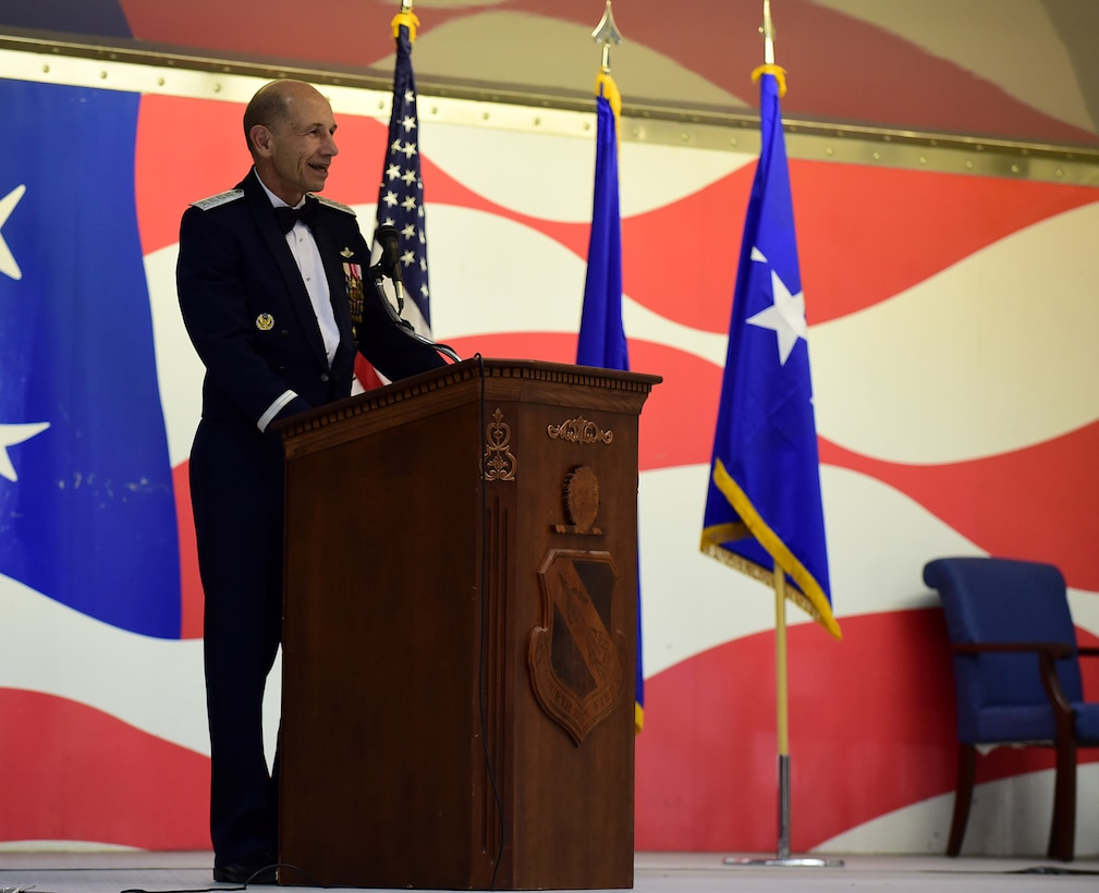 Gen. Mike Holmes, commander of Air Combat Command, delivers a speech during the 4th Fighter Wing 75th Anniversary Gala, Sept. 16, 2017, at Seymour Johnson Air Force Base, North Carolina. Holmes served as the 4 FW commander from Aug. 2004 through Sept. 2006. (U.S. Air Force photo by Airman 1st Class Kenneth Boyton)
