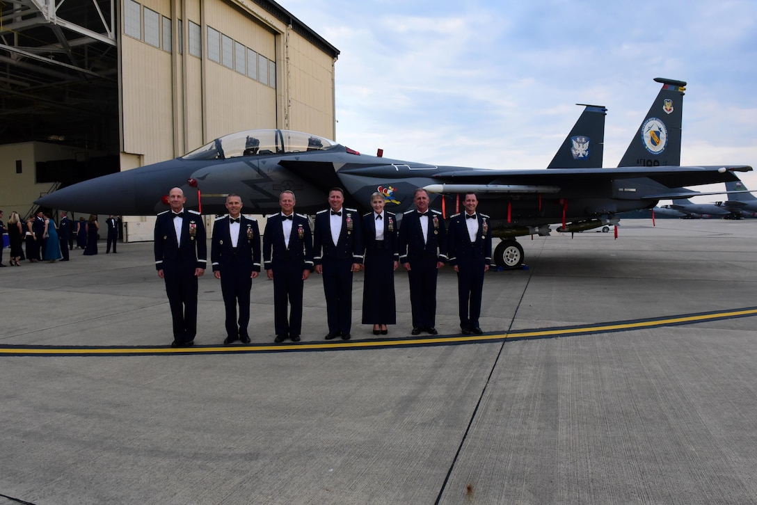 Previous 4th Fighter Wing commanders joined Col. Christopher Sage, current 4 FW commander, and Gen. Mike Holmes, commander of Air Combat Command, for the 75th Anniversary Gala, Sept. 16, 2017, at Seymour Johnson Air Force Base, North Carolina. The 4 FW traces its roots to the Royal Air Force during World War II and was transferred to the U.S. Army Air Forces on Sept. 12, 1942. (U.S. Air Force photo by Airman 1st Class Victoria Boyton)