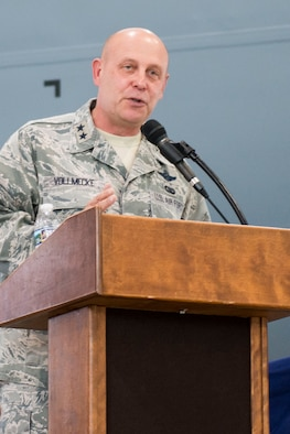 Maj. Gen. Eric Vollmecke speaks during his retirement ceremony held at the 167th Airlift Wing, Martinsburg, W.Va., Sept. 16.