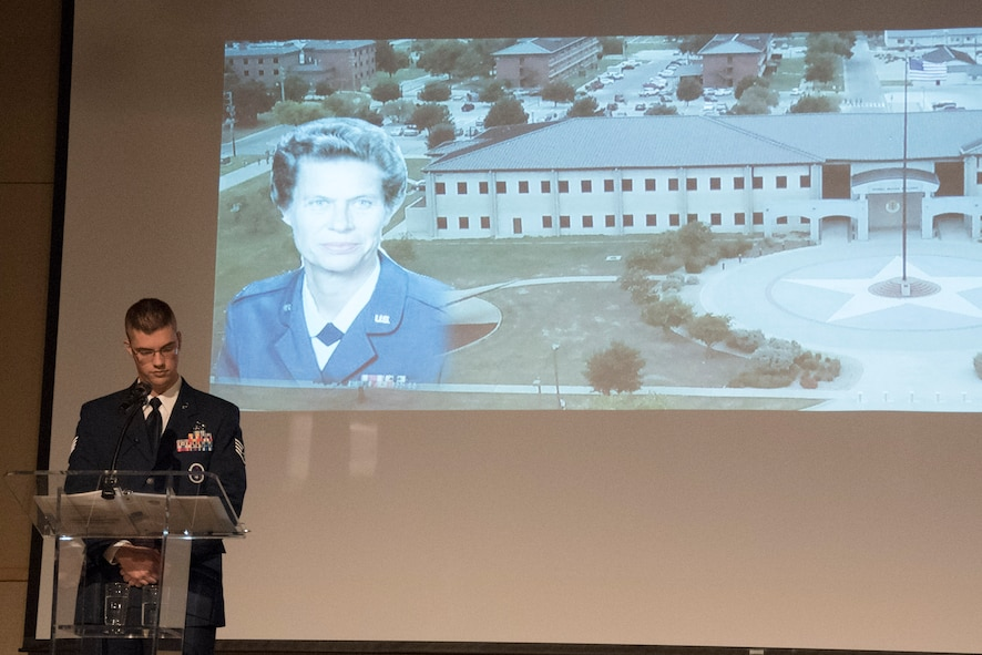 The Air Force Ball addresses the topic of breaking barriers and paid tribute to U.S. Air Force retired Maj. Gen. Norma Brown, prior base commander, at the McNease Convention Center in San Angelo, Texas, Sept. 15, 2017. In honor of her service, the Goodfellow headquarters building was named after her. (U.S. Photos by Airman Zachary Chapman/Released)
