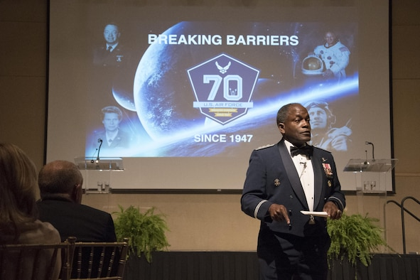 U.S. Air Force retired Lt. Gen. Ronnie Hawkins Jr. attends the Air Force Ball as the guest speaker at the McNease Convention Center in San Angelo, Texas, Sept. 15, 2017. Hawkins spoke about his desire to have the Air Force traditions and culture honored in future generations. (U.S. Photos by Airman Zachary Chapman/Released)