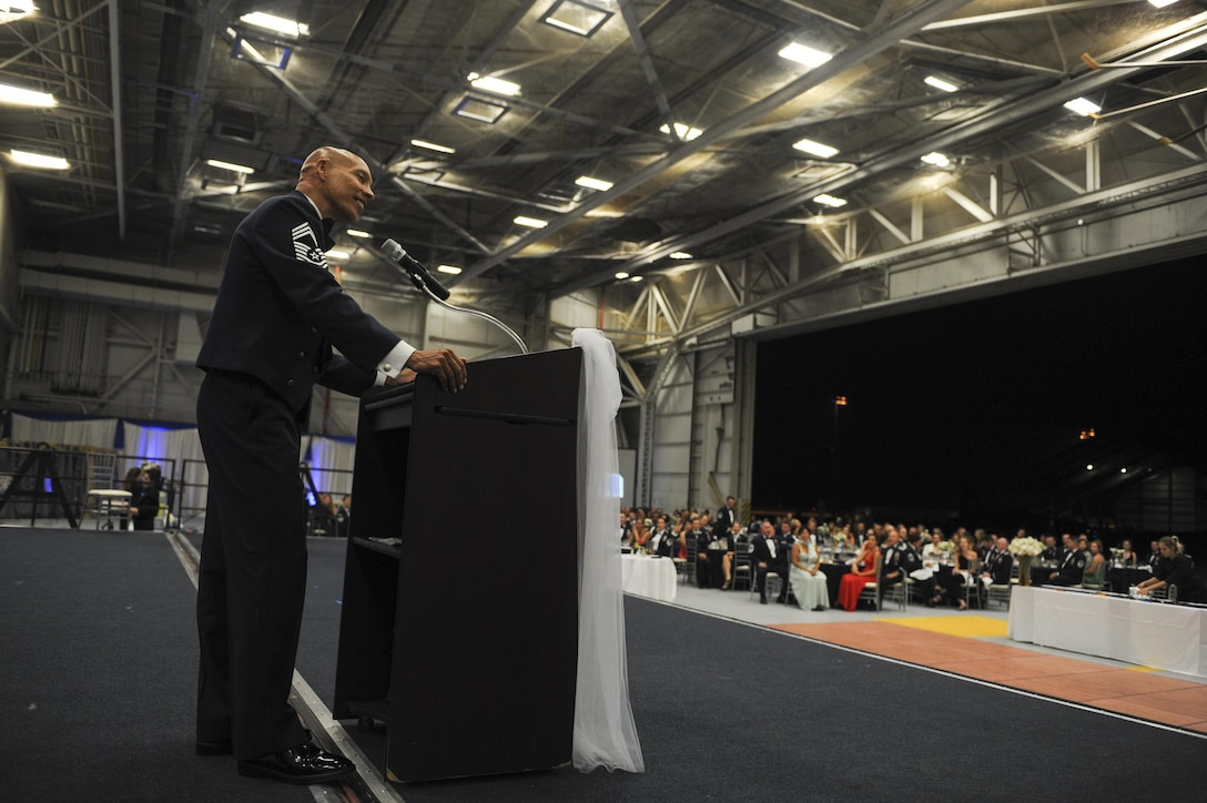 Chief Master Sgt (ret.) Gary Maxwell gives a s closing speech to Airmen and guests at the Air Force Ball at Beale Air Force Base, California, Sept. 17, 2017. The Air Force was officially recognized as a branch of service on Sept. 18, 1947.