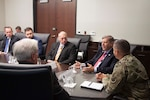 Senator Randy Vulakovich, second from right, meets with DLA Distribution commanding general Army Brig. Gen. John S. Laskodi at DLA Distribution headquarters in New Cumberland, Pennsylvania.
