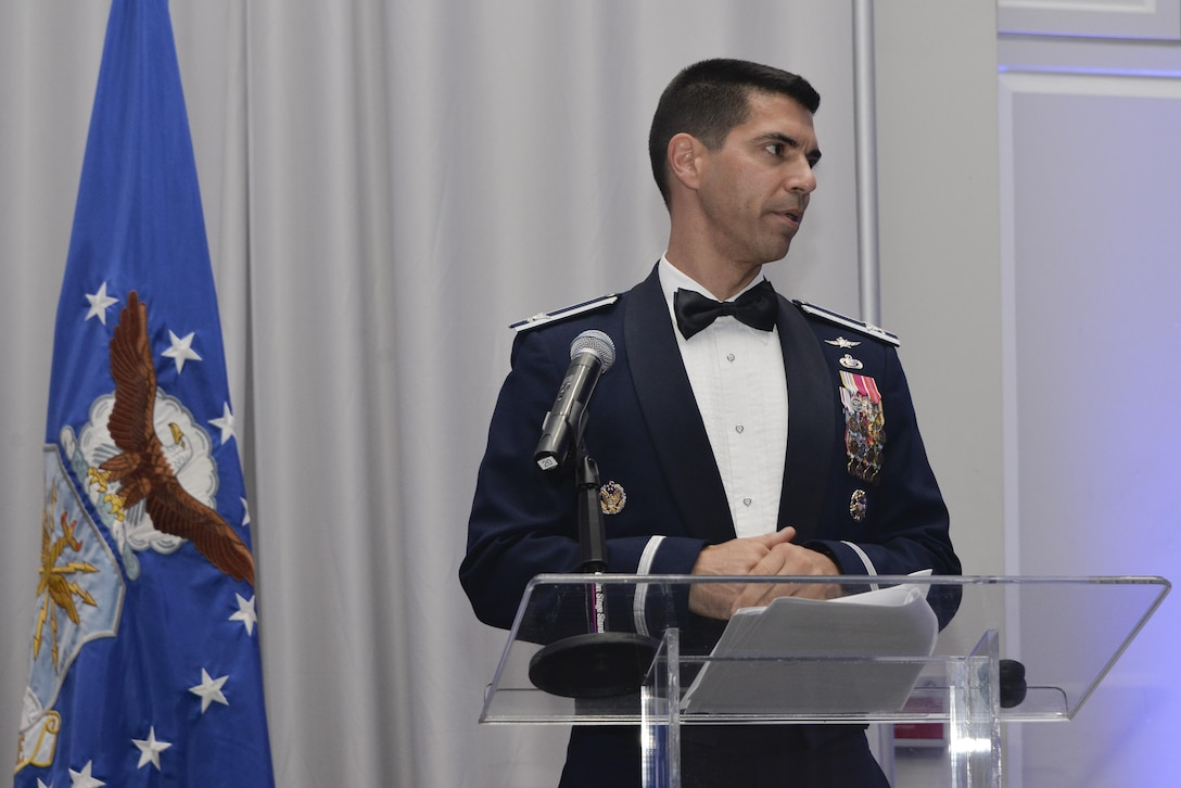 Col. Matteo Martemucci, 70th Intelligence, Surveillance and Reconnaissance Wing commander, gives his opening remarks and encourages Airmen to 'Be Benny', an aviation innovator, during the Fort Meade Air Force Birthday Celebration at College Park, Md. September 15, 2017. This year's celebration was hosted by the 70th Intelligence, Surveillance and Reconnaissance Wing, with the theme Breaking Barriers: Sound, Cyber and Beyond. (U.S. Air Force photo by Staff Sgt. Alexandre Montes)