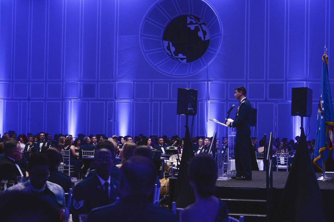Col. Matteo Martemucci, 70th Intelligence, Surveillance and Reconnaissance Wing commander, gives his opening remarks during the Fort Meade Air Force Birthday Celebration at College Park, Md. September 15, 2017. This year's celebration was hosted by the 70th ISRW with the theme Breaking Barriers: Sound, Cyber and Beyond. (U.S. Air Force photo by Staff Sgt. Alexandre Montes)