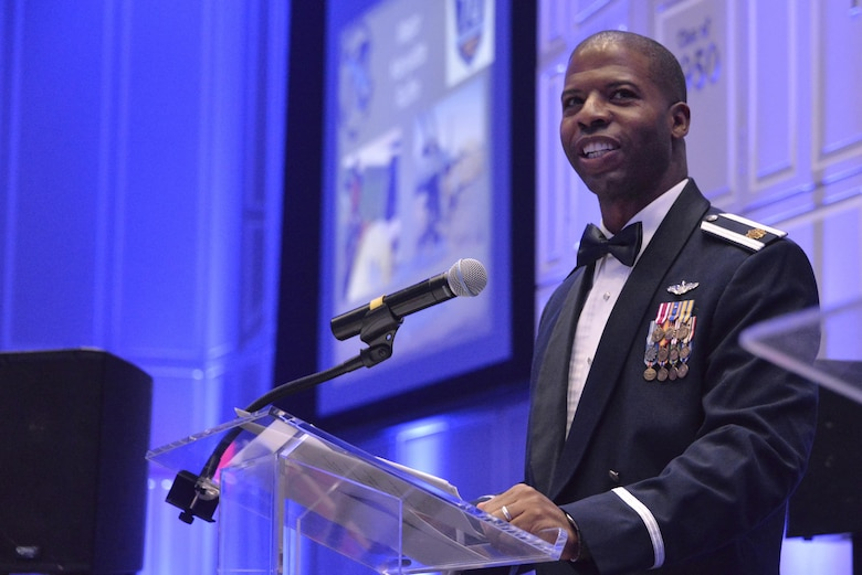 Major Kenyatta Ruffin, Airpower Strategist at Headquarters Air Force, Pentagon talks about his journey in the Air Force as the guest speaker for the 2017 Fort Meade Air Force Birthday Celebration at College Park, Md. September 15, 2017. This year's celebration was hosted by the 70th Intelligence, Surveillance and Reconnaissance Wing, with the theme Breaking Barriers: Sound, Cyber and Beyond. (U.S. Air Force photo by Staff Sgt. Alexandre Montes)