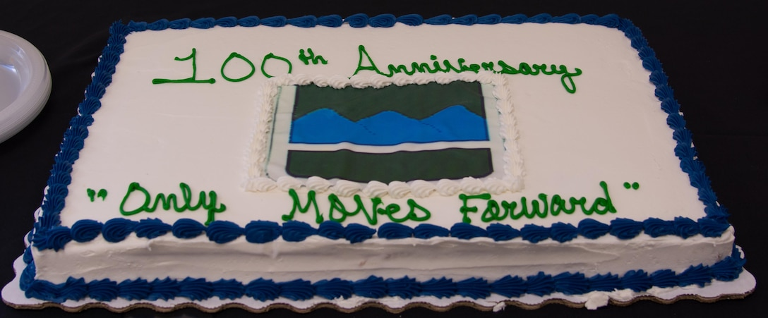 """The 80th Training Command kicks off its 100th anniversary with the 80th's change of command ceremony at Fort Lee, Virginia, Sept. 17, 2017.  Following the ceremony, a reception was held at the U.S. Army Quartermaster Museum where a 100th anniversary cake was served. Written across the cake is the 80th's motto """"Only Moves Forward."""""""
