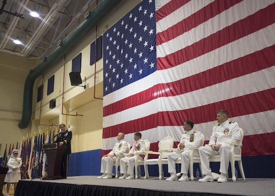 MANAMA, Bahrain (Sept. 19, 2017) Gen. Joseph L. Votel, commander of U.S. Central Command, speaks at the Naval Forces Central Command (NAVCENT)/U.S. 5th Fleet/Combined Maritime Forces change of command ceremony. NAVCENT conducts maritime operations to deter and counter regional threats, defeat violent extremism and strengthen partner nations' maritime capabilities in order to preserve the free flow of commerce and promote a secure maritime environment in the U.S. Central Command area of responsibility. (U.S. Navy photo by Mass Communication Specialist 2nd Class Christina Brewer)
