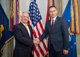 Defense Secretary Jim Mattis hosts a bilateral meeting for Romanian Minister of Defense Mihai-Viorel Fifor at the Pentagon in Washington, D.C., Sept. 19, 2017. DoD photo by Air Force Tech. Sgt. Brigitte N. Brantley