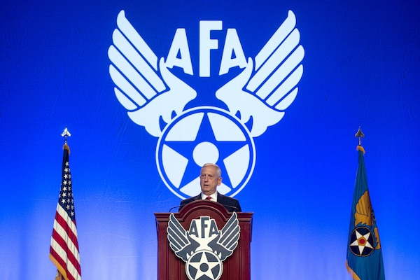 Defense Secretary Jim Mattis speaks during the Air Force Association Air, Space and Cyber Conference at National Harbor, Md., Sept. 20, 2017. DoD photo by U.S. Air Force Tech. Sgt. Brigitte N. Brantley