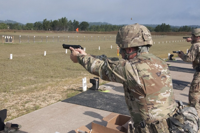 Sgt. John Halley, from Winslow, Arkansas, a combat engineer with the 688th Engineer Company (Mobility Augmentation Company), Harrison, Arkansas, competes during the M-9 portion of the Army Reserve Small Arms Championship.