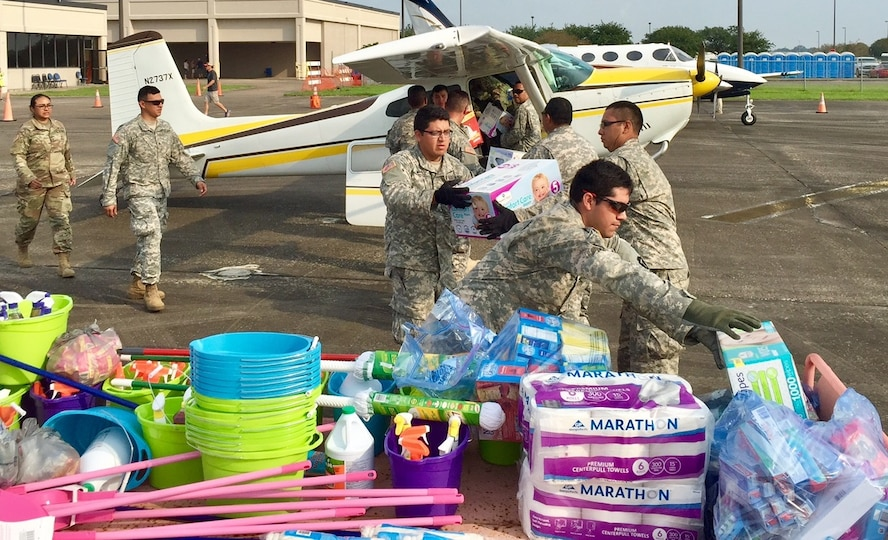 Reserve Airmen from the 340th Flying Training Group's 70th Flying Training Squadron at the Air Force Academy, Colorado Springs, Colo. load more than 600 pounds of relief supplies to deliver to citizens in Beaumont, Texas after Hurricane Harvey. (Courtesy photo).