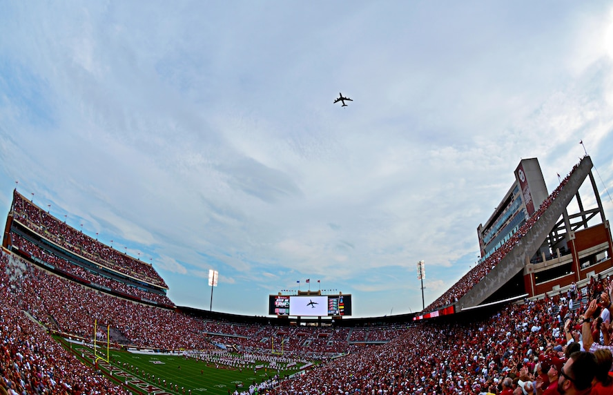 In honor of the Air Force's 70th Anniversary, a KC-135 Stratotanker from the 507th Air Refueling Wing operating out of Tinker Air Force Base, Okla., performed a flyover Sept. 16, 2017, at a University of Oklahoma football game at the Gaylord Family Oklahoma Memorial Stadium in Norman, Okla. (U.S. Air Force photo/Master Sgt. Grady Epperly)
