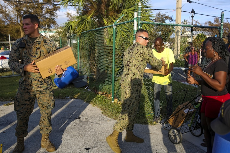 Marines and Sailors with the 26th Marine Expeditionary Unit (MEU) and Marine Heavy Helicopter Squadron (HMH) 461 helped distribute food, water, and supplies in support of the Federal Emergency Management Agency in the aftermath of Hurricane Irma.