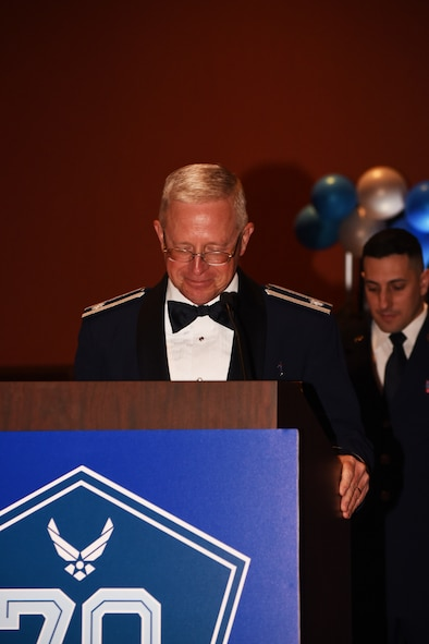 Chaplain (Lt. Col.) Sam Tucker gives the invocation during the Air Force Ball Sept. 16 at the Embassy Suites in Norman, Oklahoma. The event both celebrated the 70th birthday of the Air Force and the 75th anniversary of Tinker Air Force Base.