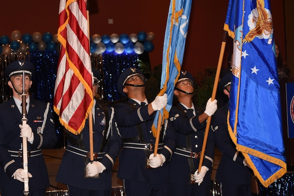Tinker Air Force Base Honor Guard presents the colors to kick off the Air Force Ball on Sept. 16, 2017. The event celebrated both the 70th birthday of the Air Force and the 75th anniversary of Tinker Air Force Base.