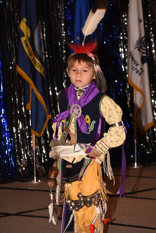 Titan Blackbird Harris performs a dance to honor Tinker Air Force Base's strong relationship with the Osage Nation.