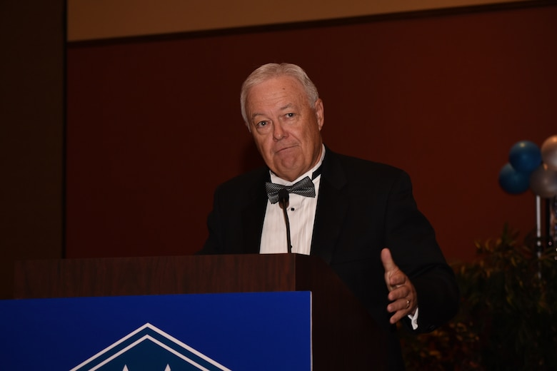 Garry Richey, former Oklahoma City Air Logistics Center executive director, was the guest speaker during the Air Force Ball Sept. 16, 2017.