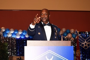 Col. Kenyon Bell, 72nd Air Base Wing commander, thanks everyone for attending this year's Air Force Ball, held on Sept. 16, 2017 at the Embassy Suites in Norman, Oklahoma. This year's ball celebrated the 70th birthday of the Air Force and the 75th anniversary of Tinker Air Force Base.