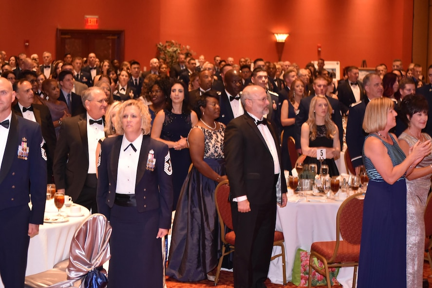 To wrap up the Air Force Ball, Guests sing the Air Force Song to wrap up the Air Force Ball. This year's event, held Sept. 16, 2017, at the Embassy Suites in Norman, celebrated the Air Force's 70th birthday and Tinker's 75th anniversary.