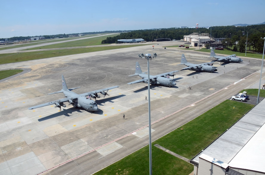 A group of C-130H3 Hercules are parked on the flightline at Dobbins Air Reserve Base, Ga. Sept. 18, 2017. The aircrews were returning to Dobbins after a four-month deployment to the Middle East in support of contingency operations. (U.S. Air Force photo/Don Peek)