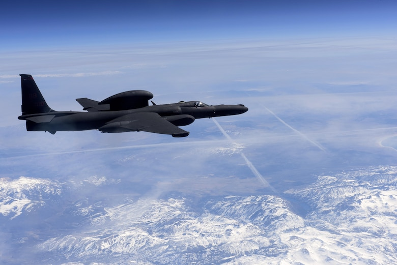 A U-2 Dragon Lady flies above the Sierra Nevada Mountain Range, California