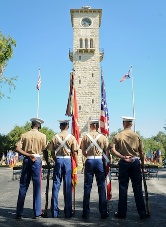 SAN ANTONIO (Sept. 8, 2017) Marines from 3D Assault Amphibian Battalion in Camp Pendleton, California, prepare to parade the colors for an award ceremony in the historical quadrangle at Joint Base San Antonio - Fort Sam Houston, Texas. Marine Corps veteran Corporal Randy D. Mann was awarded the Navy and Marine Corps Medal during the ceremony in his hometown of San Antonio for his actions while on active duty with the 3D Assault Amphibian Battalion in July 2013. (U.S. Navy photo by Mass Communication Specialist 1st Class Jacquelyn D. Childs/Released)