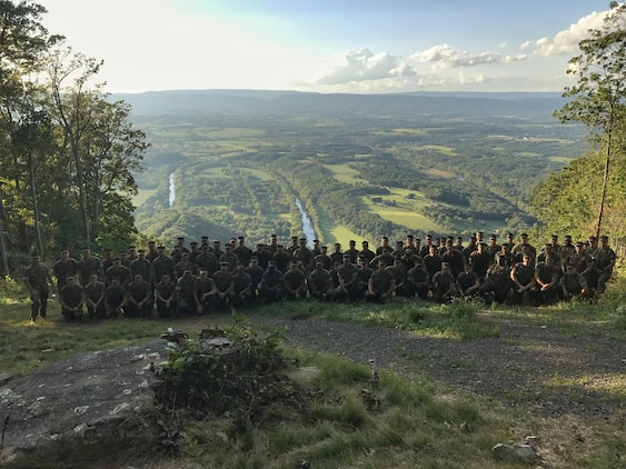Marines with 2nd Civil Affairs Group, Force Headquarters Group, Marine Forces Reserve, hike to an overlook of the Shenandoah Valley, near Woodstock Tower, during the unit's recent staff ride exercise through the Shenandoah Valley on September 8, 2017. During the three-day staff ride exercise, 2nd CAG's Marines reviewed Gen. Sheridan's 1864 campaign through the Shenandoah Valley in the context of civil military operations. At the overlook, the Marines discussed the impact that Sheridan's campaign had on the Valley's civilian residents, and how better civil affairs planning could have avoided or lessened the resulting refugee crisis.