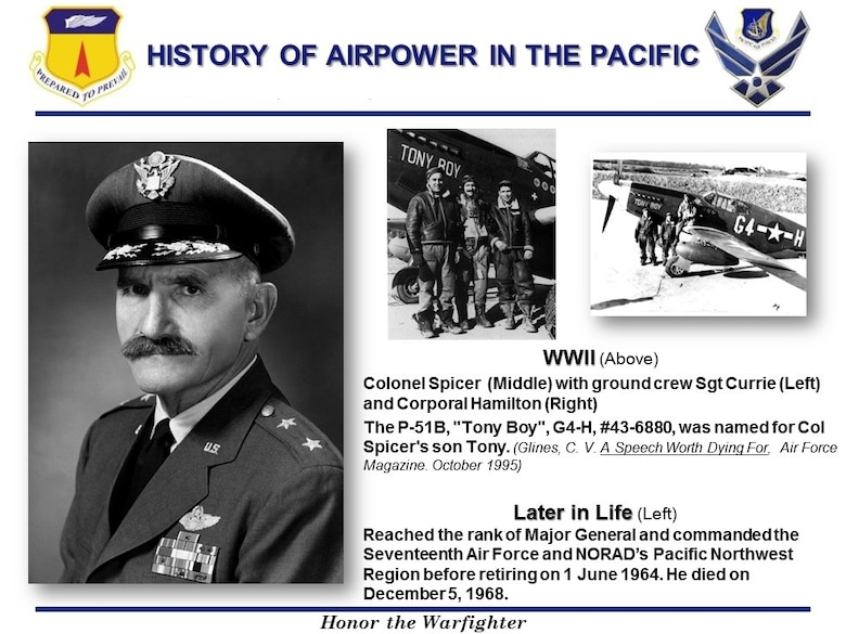 U.S. Air Force Col. Henry R. Spicer, retired Maj. Gen., informational graphic (Courtesy Photos)