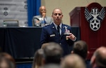 U.S. Air Force Central Command Commander Lt. Gen. Jeffrey L. Harrigian speaks about the challenges of Air Power operations in a complex battle space portion of the Air Space, Cyber Conference in National Harbor, Md., Sept 18, 2017. (U.S. Air Force photo/Wayne A. Clark) (Released)
