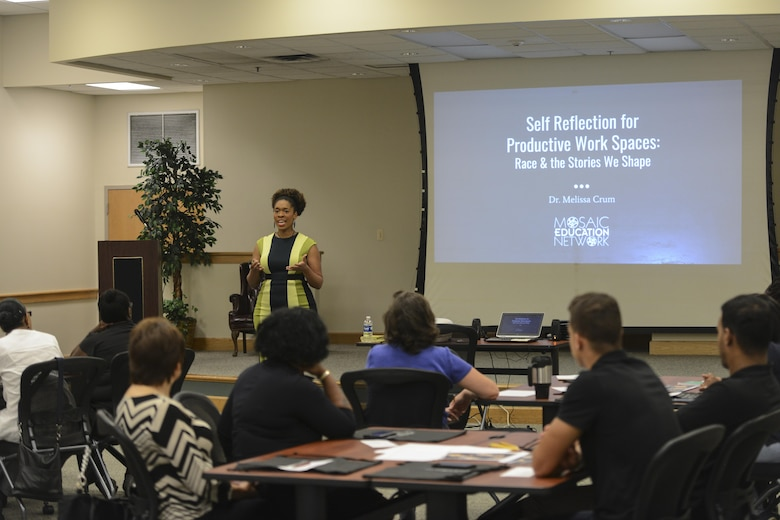 Dr. Melissa Crum, Mosaic Education Network founder and diversity practitioner, spoke to members of Joint Base Charleston during a Multicultural Diversity: Real Talk workshop at the Air Base Education Center here Sept. 19, 2017.