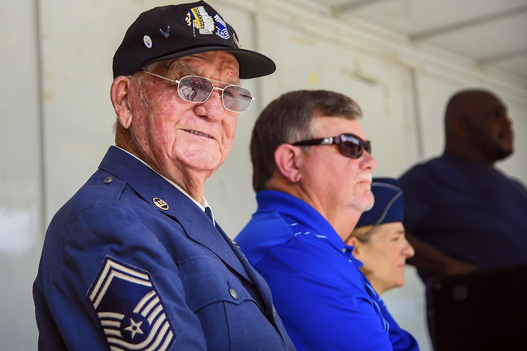 Retired Chief Master Sgt. Jim E. Harring poses for a picture during the U.S. Air Force 70th birthday celebration, Sept. 16, 2017, in Valdosta, Ga. Harring enlisted in the Army Air Corps on Jan. 8, 1947 and was a charter member of the Air Force when it was first established in September of that year. Harring served over 30 years in the military. (U.S. Air Force photo by Airman Eugene Oliver)