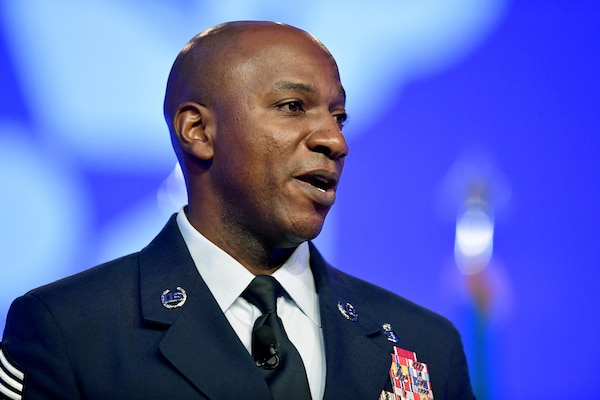 """Chief Master Sgt. of the Air Force Kaleth O. Wright gives his """"Taking Care of Airmen from the Ground Up"""" talk during Air Force Association's Air Space, Cyber Conference in National Harbor, Md., Sept 20, 2017."""