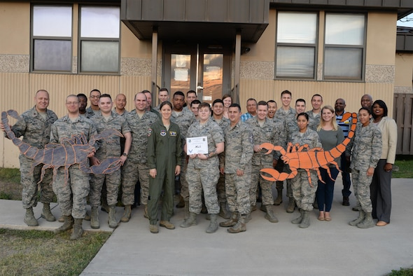 "Airman 1st Class Kalle Cox, 47th Communication Squadron knowledge manager, was chosen by wing leadership to be the ""XLer,"" for the week of Sept. 11, 2017. The ""XLer,"" a wing-level award program sponsored by Col. Charles Velino, 47th Flying Training Wing commander, and presented by Col. Michelle Pryor, 47th FTW vice commander, is awarded to those who consistently make outstanding contributions to their unit and Laughlin's mission."