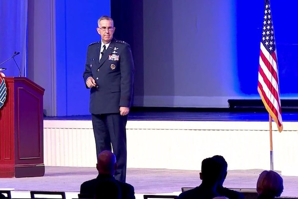 Gen. John E. Hyten, commander of U.S. Strategic Command, gives remarks at the the Air Force Association's Air, Space and Cyber Conference at National Harbor, Md., Sept. 20, 2017. Screenshot via Defense.gov